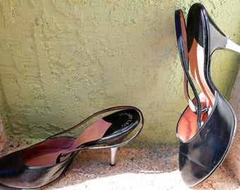 1950s Slingbacks, I. Miller Black Pumps with Silver Tone Heels