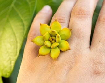 Big Green Succulent Planter Ring Wholesale 2,5 cm Statement Succulent Ring Succulent Jewelry Wedding Bridal Birthday Gifts Jewelry