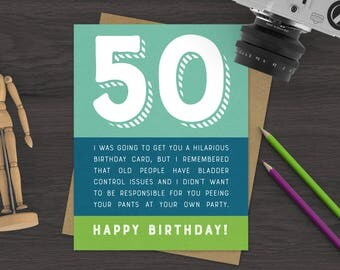 50th Funny Birthday Greeting Card - 50 Card - Old Joke Birthday Card - Happy Birthday Card