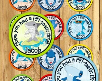 Shark Thank you stickers Party favor tag Pool party tags Gift tags Cupcake toppers Shark Birthday Party beach party PRECUT Personalized