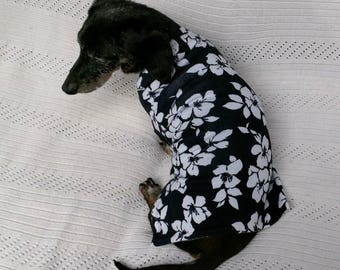 Dachshund sweater of cotton blend knit fabric handcrafted to fit and stay on