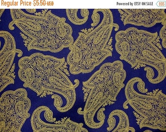 """On SALE 25% OFF SALE Royal Blue Paisley Cotton Fabric 1 yard 27"""" Remnant"""
