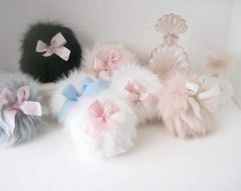 Powder Puffs Bath Powder Puffs Fluffy Faux Fur Puff Assorted Colors Boudoir Accessory Makeup Puff Bridesmaid Gifts