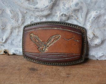 Vintage Leather And Brass Belt Buckle, Vintage Brass Eagle Belt Buckle