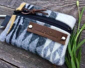 Venture Carabiner Coin Case // Grey Pendleton Wool Black Leather // Rosebud Originals