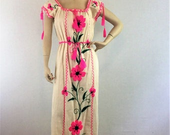 RARE vintage mexican fiesta party maxi dress - 1970s floral embroidered long gauze cotton dress