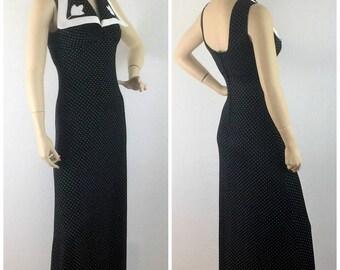 Vintage 70s navy and white dotted maxi halter dress - 1970s floor length tulip summer dress - medium