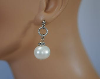 Dangle Earring, Pearl earrings, Crystal and pearl earrings, Drop earrings, Gift for her, long earrings, everyday use
