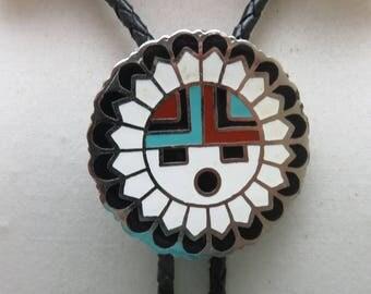 Zuni Sun Face Chiefs Head Bolo Tie,  Enamelwork Bolo