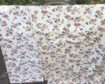 Vintage French  floral curtain panel x two