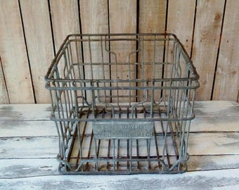 Vintage metal Crate, Square Dairy Milk Crate, Heavy Metal Storage Crate, Industrial chic, Urban Farmhouse