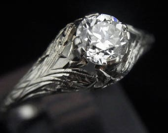 Edwardian Old European Cut Diamond 18k & 14k White Gold Engagement Ring Antique LAYAWAY AVAILABLE