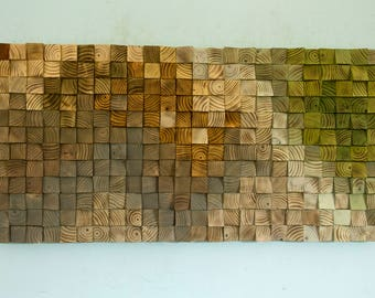"Reclaimed Wood wall Art, wood mosaic, geometric art, wood wall art - ""The touch of Earth"""