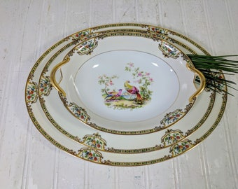 Large Serving Platter Noritake Morimura Chelsea Pattern Hand Painted Art Deco China Large Oval Plate with Colorful Porcelain Peacock Design