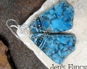 Blue Apatite Earrings, AAA, Sterling Silver, Wire Wrapped, Handcrafted, Handmade, Boho, Rough Cut, Unique, Women's Gift, Gemstone, Jewelry