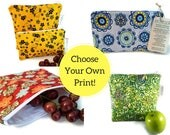Waterproof Zippered Sandwich and Snack Bags- Choose your own Style and Size!