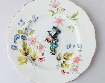 Madhatter Alice in Wonderland Bone China with Blue Pink Green Flowers on White Display 3D Plate Collage Sculpture for Wall Decor Birthday