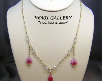 """Pink Czech Glass Necklace  - Swarovski Crystals, 14k Gold Filled Chain & Clasp - Size 18"""" - Hand Crafted Artisan Jewelry"""
