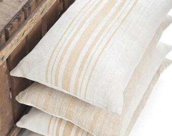 Camel Stripe Vintage Grain Sack Lumbar Pillow