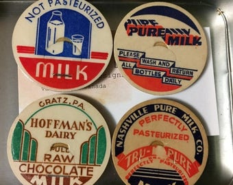 Vintage Milk Bottle Caps Fridge Magnets (set of 4) in small tin ready to gift