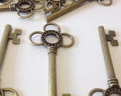 ON SALE Large Skeleton Keys - 10 x Antique Bronze/Brass Skeleton Key Charms Large Key Set Bronze Santa Keys Jewelry Making Key Charms Key Pe