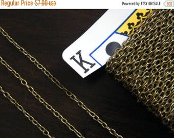 ON SALE 20ft Spool Antique Brass Bronze Cross Chain 3x2mm - A