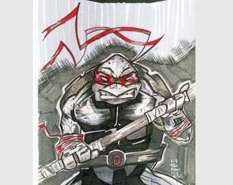 TMNT / Teenage Mutant Ninja Turtles  / Sketch Cover / Variant Cover / Hand Painted Comic Book / Hand Drawn