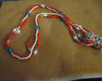 Peyote Beaded Miniature Bottle/Catcher Necklace...Red,White & Turquoise...handmade...OOAK