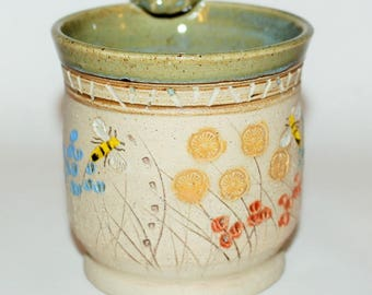 Ceramic Pottery Mug / Bees in the Meadow