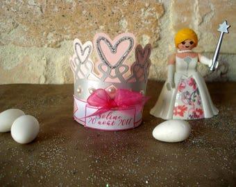 """Set of 25 boxes favors baptism, communion """"Princess Crown"""""""