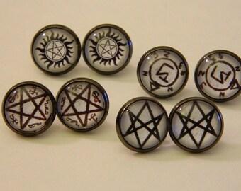 Supernatural Symbol Stud Earrings Custom Jewelry Anti-Possession Men of Letters Devils Trap Angel Banishing 4 Pairs