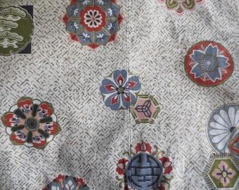 """Vintage Bark Cloth, Curtain Fabric // Used, Medallion Pattern ...90"""" X 130"""""""