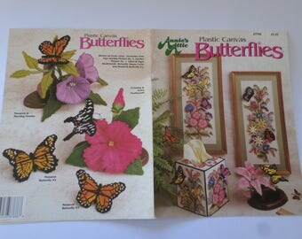 Plastic Canvas butterfly tissue covers, wall hangings, figurine, instruction book