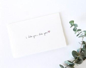 Simple Valentine's Day Card - Cute Heart - I Like You, Like You