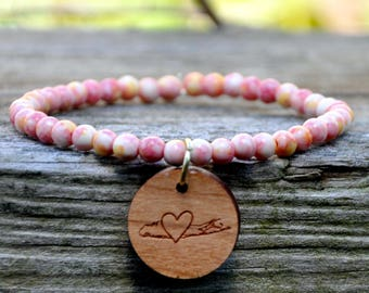 Pink Sunset Splash Beaded Long Island Love Bracelet