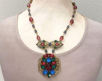 Vintage Repurposed Unique Rhinestone Necklace - Statement Rhinestone Necklace Gift for Her - Rhinestone Pendant Necklace Red Rhinestone Blue