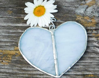 White Stained Glass Heart Suncatcher Wedding Decoration Romantic Boho Bohemian Hippie Decor Gift Lead free solder