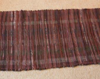 Handwoven Rag Rug - Dark Browns varigated look - 47 inches....(#167)