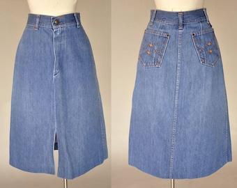 vintage 70s faded denim skirt | high waist vintage skirt | slit up front, pockets on back