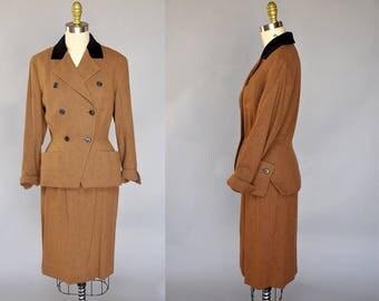 40s vintage suit | super soft wool brown skirt suit | double breasted, pockets, black velvet collar XS