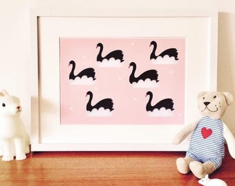 Pink nursery print, baby gift, child's illustration, nursery art, black swans