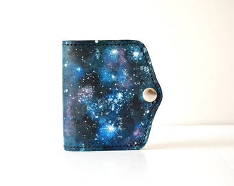 Galaxy Painted Leather Wallet Card Holder Coin Purse, Girlfriend Gift, Wife Gift, Womens Leather Wallet, Unique gift for her, Galaxy, Space