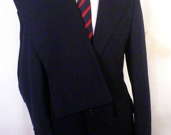 vtg 60s Sears Traveller Knit Navy 100% Wool Flannel 2 Pc Business Suit 39 L