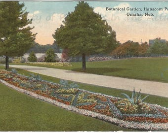 Botanical Garden, Hanscom Park Omaha Nebraska Vintage Postcard Early Curteich Postcard 1913