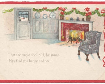 Comfy Chair Next to Cozy Fireplace in Front Room Poinsettia on Mantle Vintage Postcard Christmas Greetings