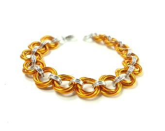 Chainmaille Mobius Bracelet In Orange And Silver Anodized Aluminum
