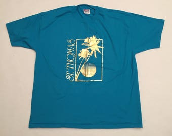 Vintage St Thomas Virgin Islands Gold / Turquoise T-Shirt