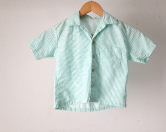 vintage 60s BOYS soft classic button up shirt MID CENTURY classic teal blue soft button down shirt
