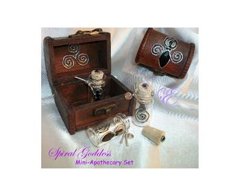 Spiral Goddess Mini Apothecary Set  -  Embellished Trunk and Mini Bottles