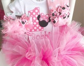 First Birthday tutu Outfit  -- Pretty Miss Mouse in hot pink and bubblegum pink -- tutu, bow, leg warmers and bodysuit